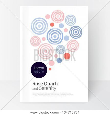 Rose quartz & serenity.colored pink and violet concentric circles & lines. Cover design template business brochures, booklets, leaflets, flyers, books, magazine. poster template or advertisement.