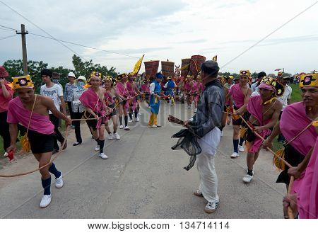 HA NOI, VIET NAM, May 3, 2016 the group of people on the outskirts of Ha Noi, participated in the procession. The festival village, the village named Giong, held annually, with the gods anniversary
