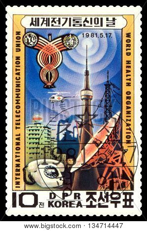 STAVROPOL RUSSIA - MAY 29 2016: A Stamp printed in the DPR Korea shows telecommunications technology circa 1981