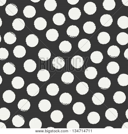 Hand drawn geometric seamless ink polka dot pattern. Wrapping paper. Abstract vector background. Round brush strokes. Casual polka dot texture. Doodle. Dry brush. Rough edges ink illustration.