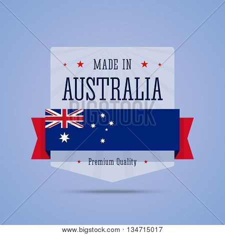 Made in Australia badge. Vector illustration with Australia flag in flat style.