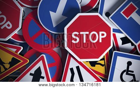 Front view of numerous french traffic road signs. Concept image for background 3D illustration