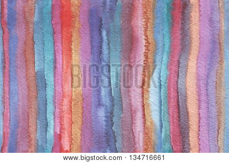 Horizontal large illustration with watercolor vertical stripes in seamless abstract background. Vivid colors grainy texture hand drawn with bright colors and wet brush good for presentation print.