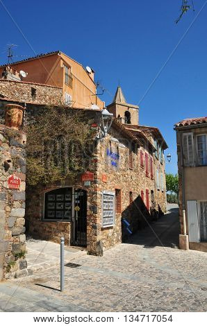 Grimaud France - april 16 2016 : the picturesque historical village