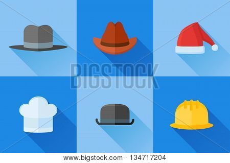 Set of hats flat icons with long shadow. Safety helmet, bowler, chef, gangster, cowboy and Santa Claus hats.