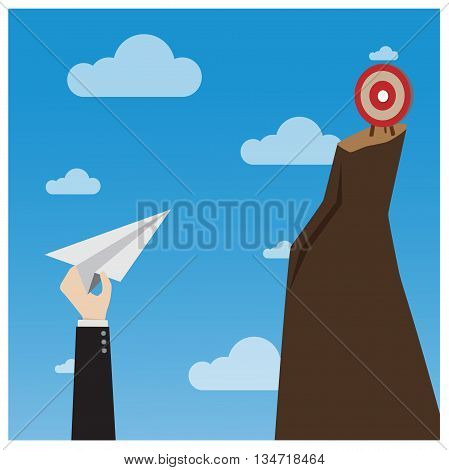 Hand business origami plane and throwing toward to aim.