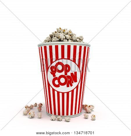 Popcorn In Striped Bucket 3D Render On White Background