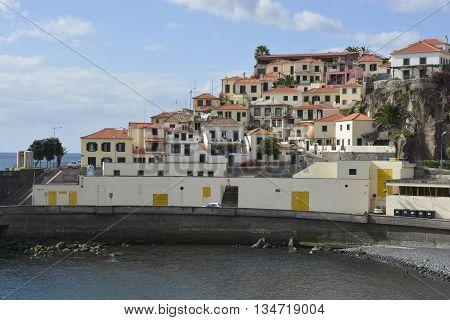 Beach and harbour at Camara de Lobos in Madeira Portugal