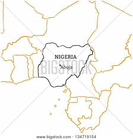 Nigeria country with its capital Abuja in Africa hand-drawn sketch map isolated on white