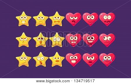 Stars And Hearts Emoji Character Set Of Flat Bright Color Trendy Cartoon Design Vector Icons Isolated On Violet Background