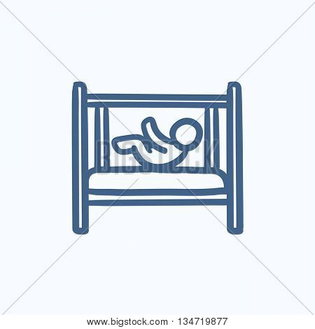 Baby laying in crib vector sketch icon isolated on background. Hand drawn Baby laying in crib icon. Baby laying in crib sketch icon for infographic, website or app.