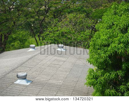 Rotating Ventilator on roof of house in garden