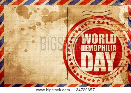 world hemophilia day, red grunge stamp on an airmail background