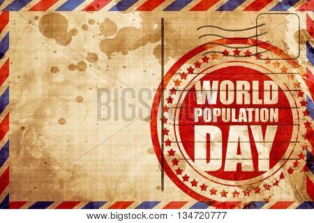 world population day, red grunge stamp on an airmail background