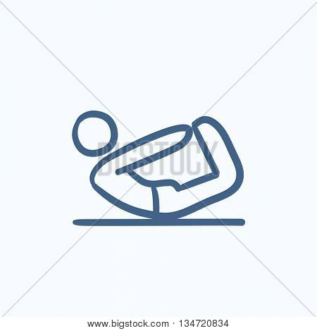 Man doing yoga bow pose vector sketch icon isolated on background. Hand drawn Man doing yoga bow pose icon. Man doing yoga bow pose icon for infographic, website or app.