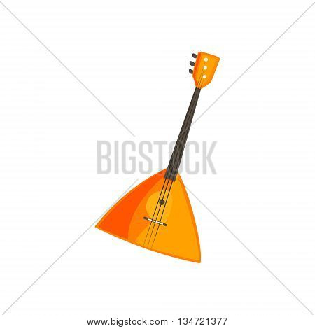 Balalaika Stringed Music Instrument Bright Color Detailed Cartoon Style Vector Illustration Isolated On White Background