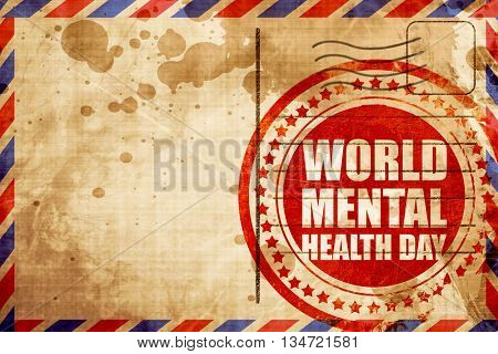 world mental health day, red grunge stamp on an airmail backgrou