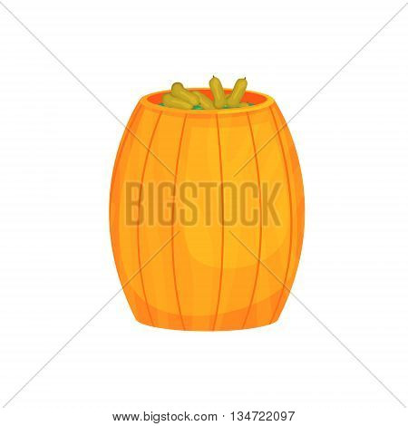 Wooden Barrel With Pickled Cucumbers Bright Color Detailed Cartoon Style Vector Illustration Isolated On White Background