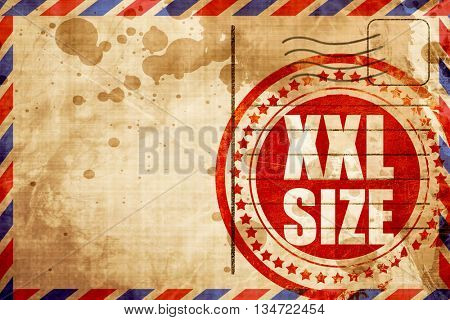 xxl size, red grunge stamp on an airmail background