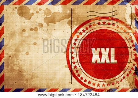 xxl sign background, red grunge stamp on an airmail background