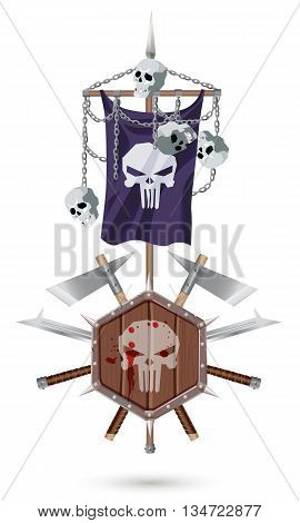 Coat of Arms to fantasy style on a white background. Shield sword ax standard with a skulls and chains.