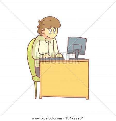 Office Worker Behind The Desk Flat Outlined Pale Color Funny Hand Drawn Vector Illustration Isolated On White Background