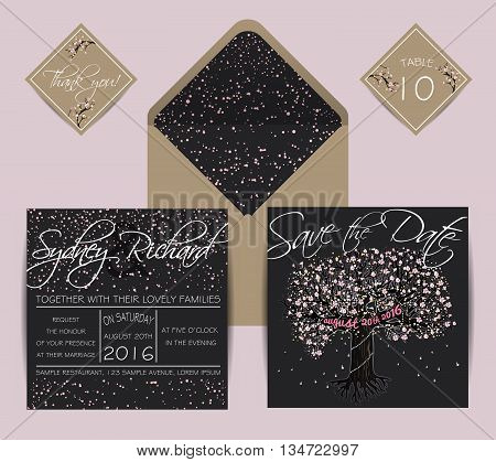 Beautiful wedding set with envelope decorated with blooming tree. Vintage invitation template