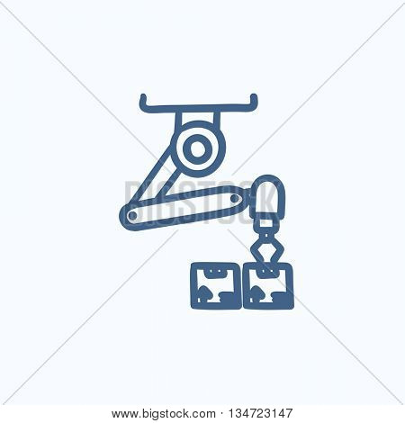Robotic packaging vector sketch icon isolated on background. Hand drawn Robotic packaging icon. Robotic packaging sketch icon for infographic, website or app.