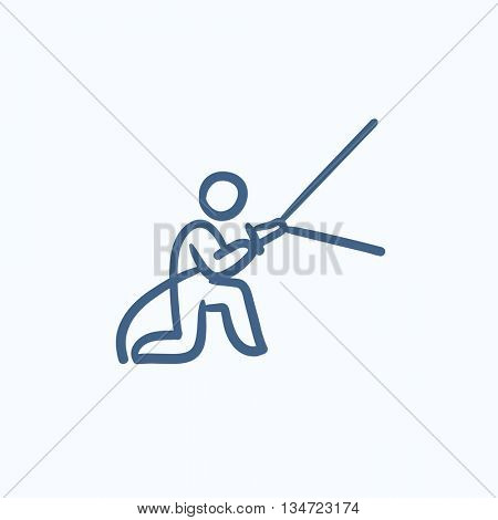 Fireman spraying water vector sketch icon isolated on background. Hand drawn Fireman spraying water icon. Fireman spraying water sketch icon for infographic, website or app.