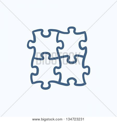 Puzzle vector sketch icon isolated on background. Hand drawn Puzzle icon. Puzzle sketch icon for infographic, website or app.