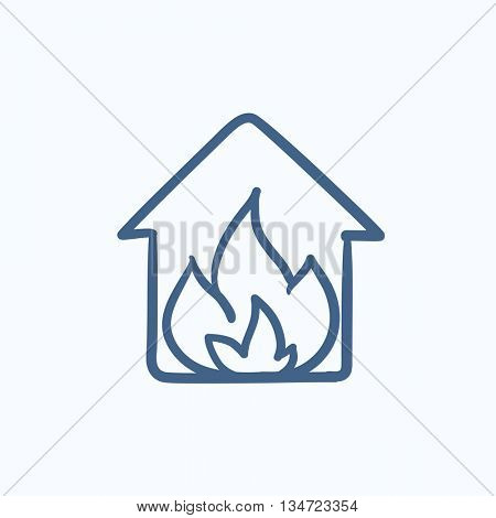 House on fire vector sketch icon isolated on background. Hand drawn House on fire icon. House on fire sketch icon for infographic, website or app.