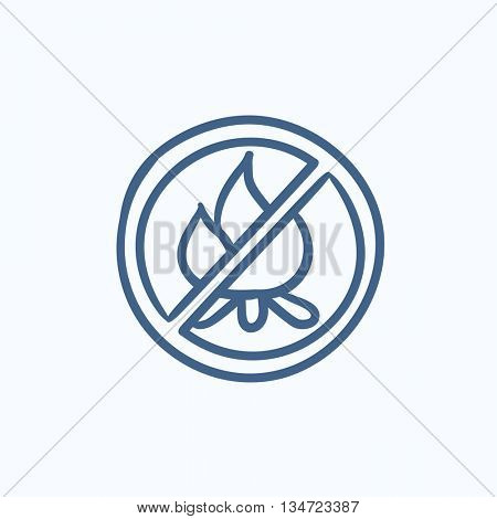 No fire sign vector sketch icon isolated on background. Hand drawn No fire sign icon. No fire sign sketch icon for infographic, website or app.