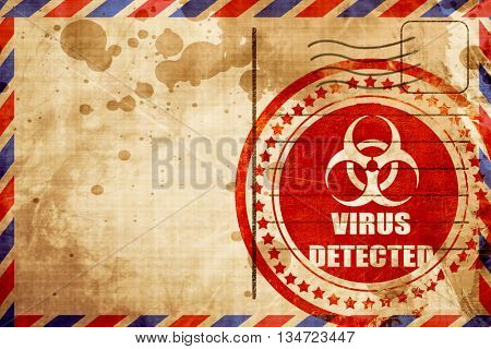 Contagion concept background, red grunge stamp on an airmail bac