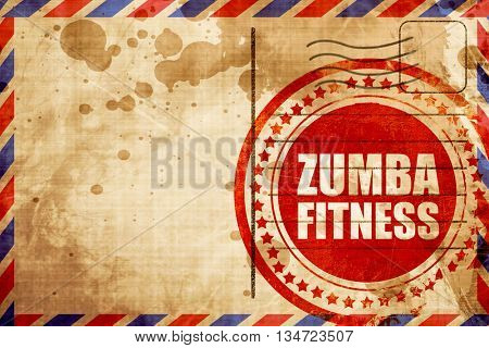 Zumba fitness, red grunge stamp on an airmail background