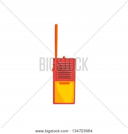 Orange And Red Walkie-Talkie Flat Simplified Colorful Vector Illustration Isolated On White Background