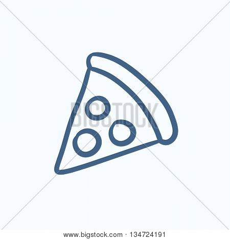 Pizza slice vector sketch icon isolated on background. Hand drawn Pizza slice icon. Pizza slice sketch icon for infographic, website or app.