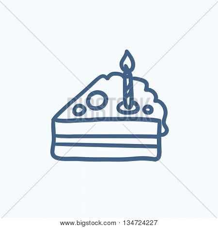 Slice of cake with candle vector sketch icon isolated on background. Hand drawn Slice of cake with candle icon. Slice of cake with candle sketch icon for infographic, website or app.