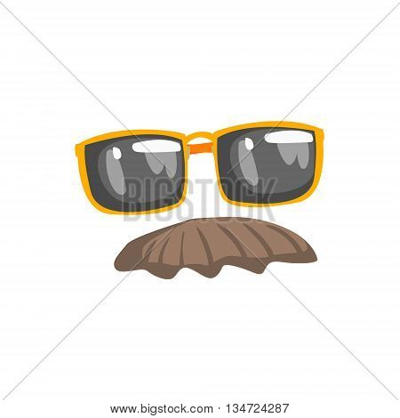 Fake Moustache And Glasses Disguise Set Flat Simplified Colorful Vector Illustration Isolated On White Background