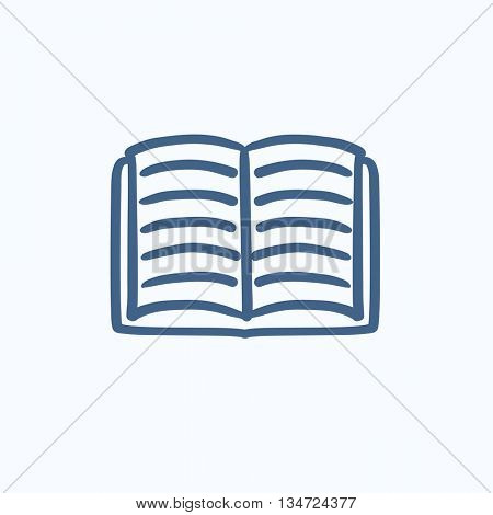 Open book vector sketch icon isolated on background. Hand drawn Open book icon. Open book sketch icon for infographic, website or app.