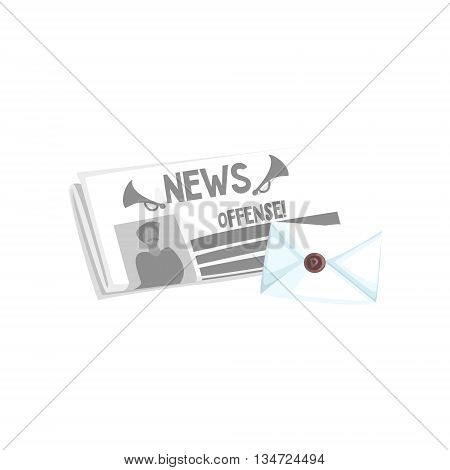 Folded Newspaper And The Letter In Envelope Flat Simplified Colorful Vector Illustration Isolated On White Background