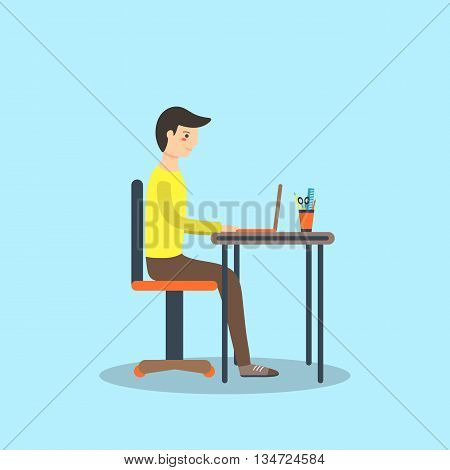 Flat style man student sitting on the chair with laptop on the table and writing his dissertation. Background with typing boy