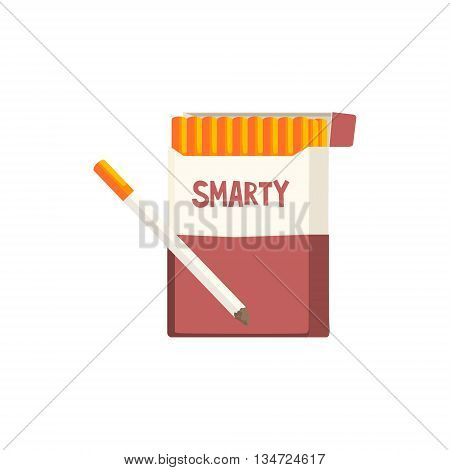 Pack Of Cigarettes Of Invented Brand Flat Simplified Colorful Vector Illustration Isolated On White Background