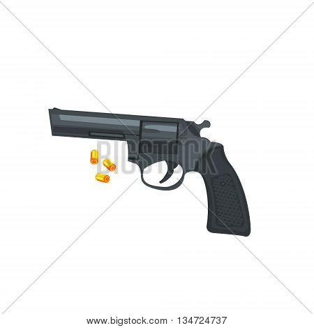 Handgun And Three Bullets Flat Simplified Colorful Vector Illustration Isolated On White Background
