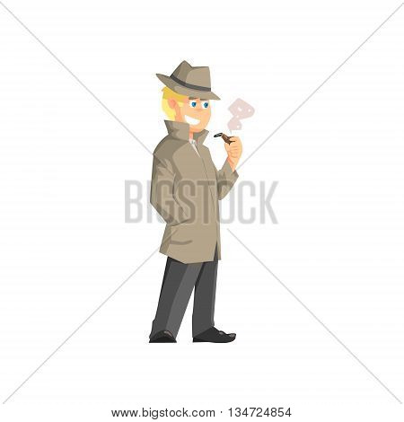Male Private Detective Flat Simplified Colorful Vector Illustration Isolated On White Background