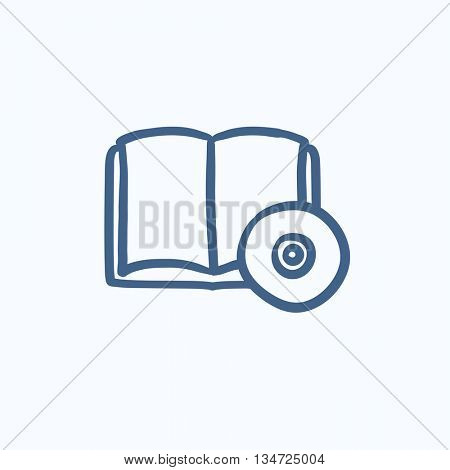 Audiobook and cd disc vector sketch icon isolated on background. Hand drawn Audiobook and cd disc icon. Audiobook and cd disc sketch icon for infographic, website or app.