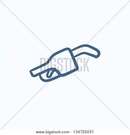 Gasoline pump nozzle vector sketch icon isolated on background. Hand drawn Gasoline pump nozzle icon. Gasoline pump nozzle sketch icon for infographic, website or app.