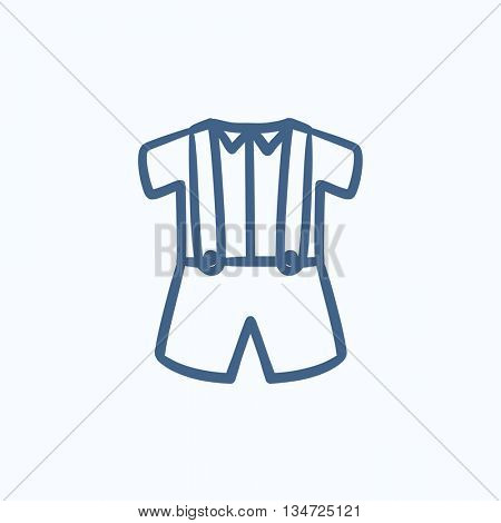 Baby shirt and shorts with suspenders vector sketch icon isolated on background. Hand drawn Baby shirt and shorts with suspenders icon. Baby shirt, shorts sketch icon for infographic, website or app.