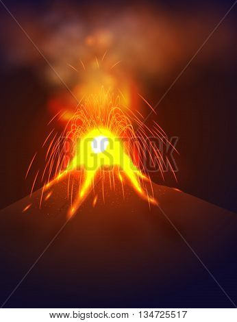 Eruption volcano vector illustation. Red lava flowing from the mountain. Vertical format.