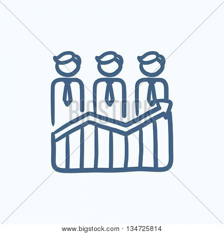 Businessmen standing on profit graph vector sketch icon isolated on background. Hand drawn Businessmen on profit graph icon. Businessmen on profit graph sketch icon for infographic, website or app.