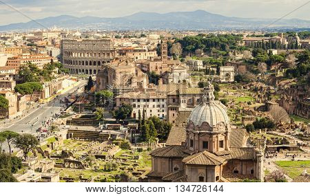 city skyline of Rome Italy wide view
